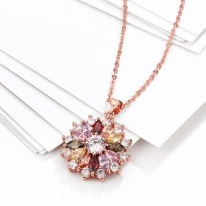 Rose gold colored AAA crystal zircon necklace